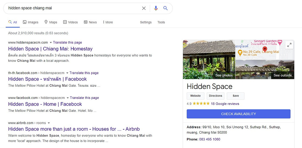 Hidden Space in Google search