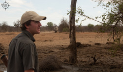 Troy on foot with Rhino