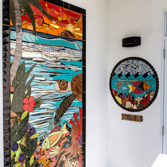 Mosaics by local artist outside of the Ocean loft