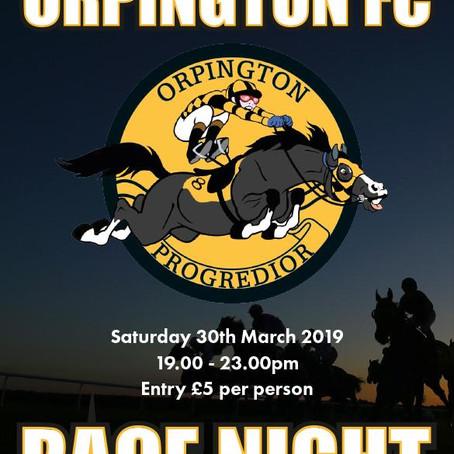 Race Night: Sat 30th March 2019