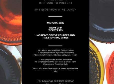 Elderton Wine Lunch 6th March 2020