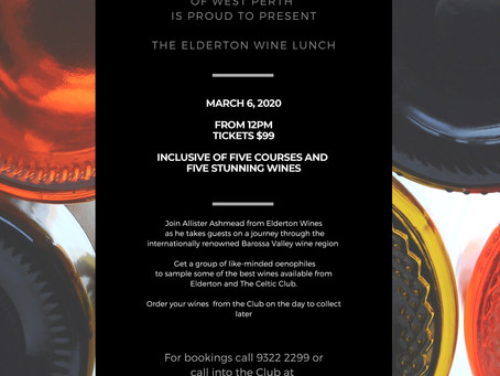 Elderton Wine Lunch 6th March 2020