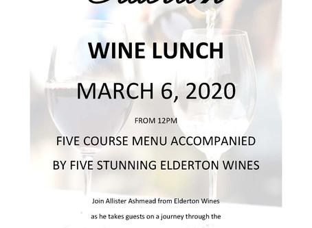 Elderton Wine Lunch Friday March 6th 2020