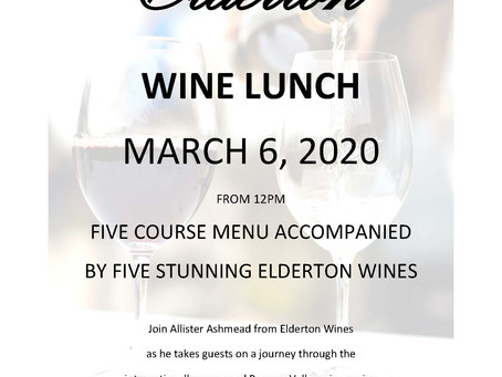 Elderton Wine Lunch Friday March 6th 2020