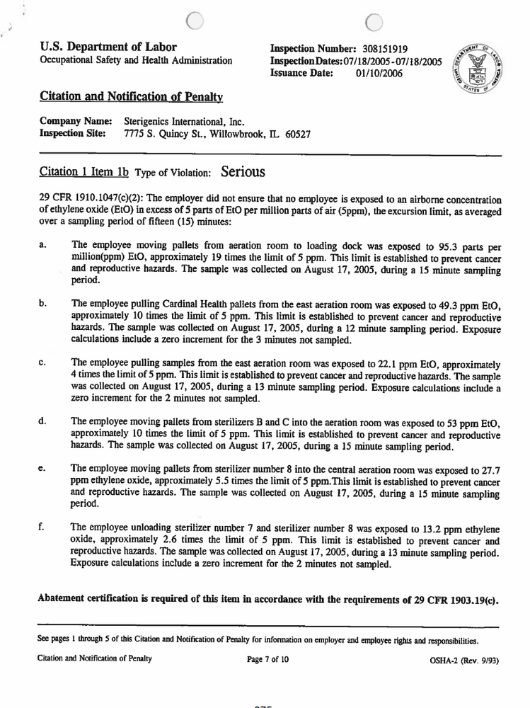 OSHA Audit of Sterigenics Reveals Alarming Worker Exposures
