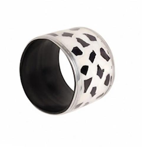 Metal Eggshell Bracelet -  Black & White