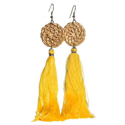 Boracay Tassel Rattan Earrings - Yellow