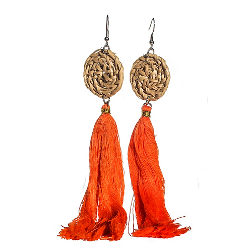 Boracay Tassel Rattan Earrings - Orange