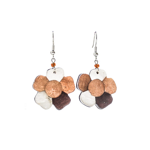 Flower Earrings - Brown