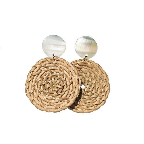 Sofia Shell Rattan Earrings - White & Natural