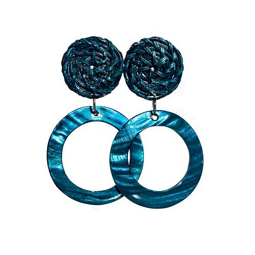 Boracay Hoop Shell Rattan Earrings - Blue