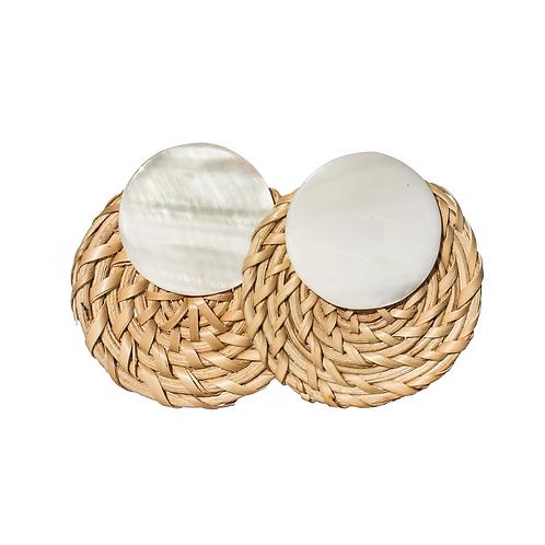 Sofia Shell Rattan Disc Earrings - White & Natural