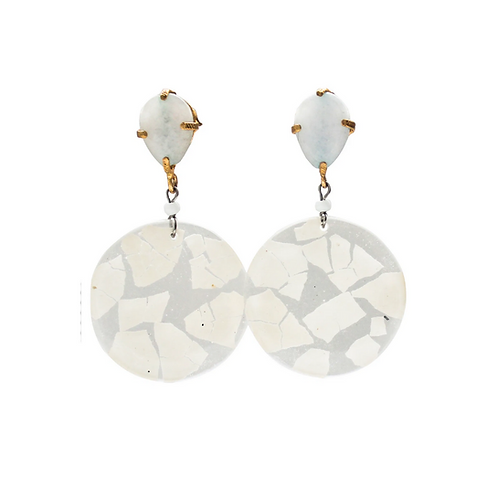 Elegant Eggshell Earrings - White