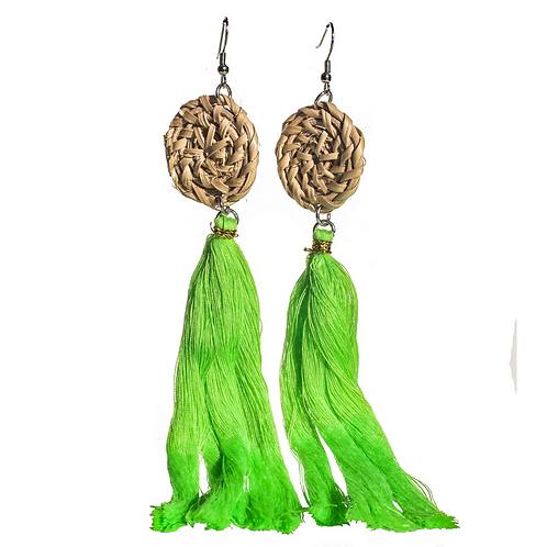 Boracay Tassel Rattan Earrings - Green