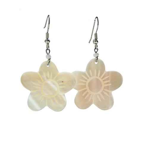 Blumenohrringe - Weiß