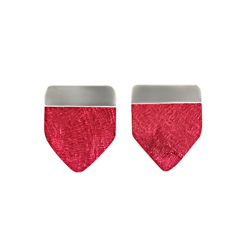 Pentagon Shaped Samira Earrings - Red