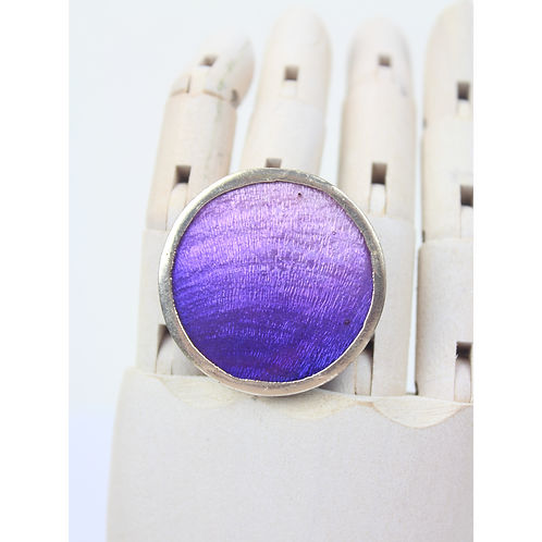 Grape Round Ring in Silver Plating - Violet