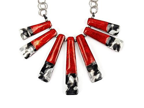 Die Tempress Halskette - Rot & Silber