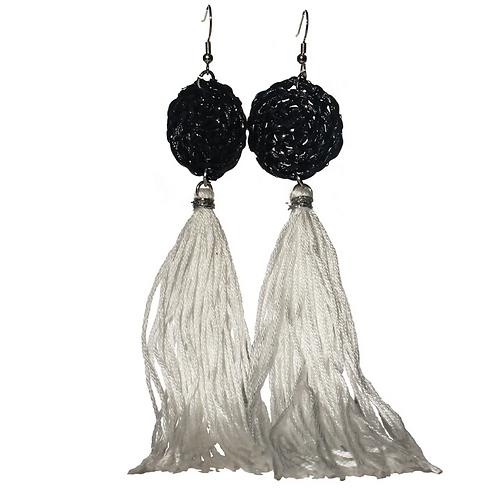Boracay Tassel Rattan Earrings - Black and White