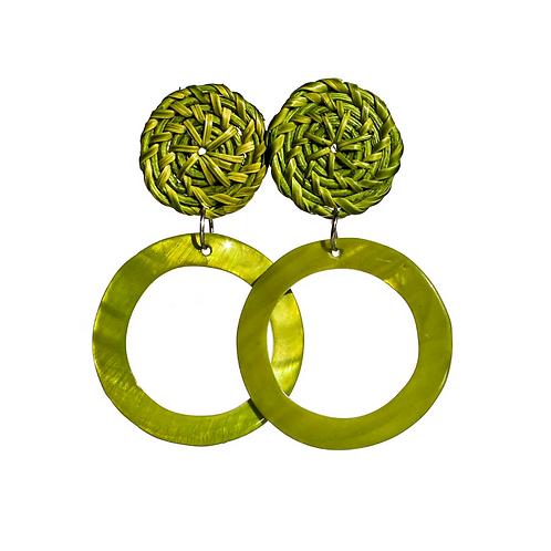 Boracay Hoop Shell Rattan Earrings - Green