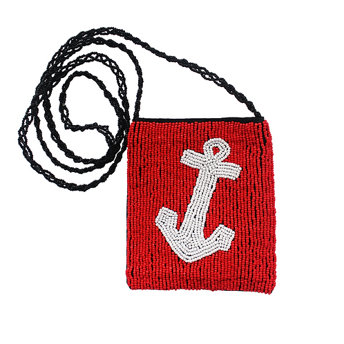 Beaded Crossbody Sling Bag - Anchor