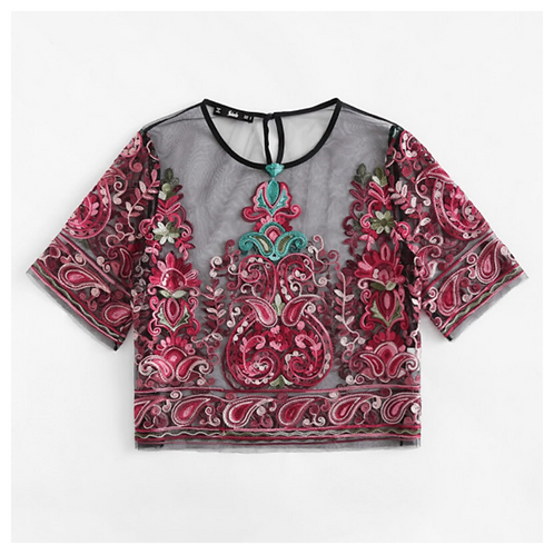 Embroidered Boho Top - Red