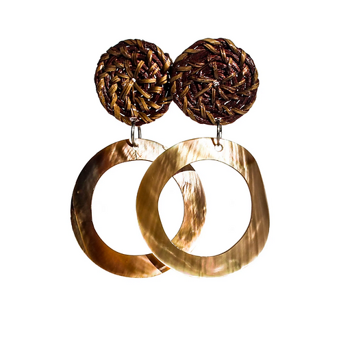 Boracay Hoop Shell Rattan Earrings - Brown
