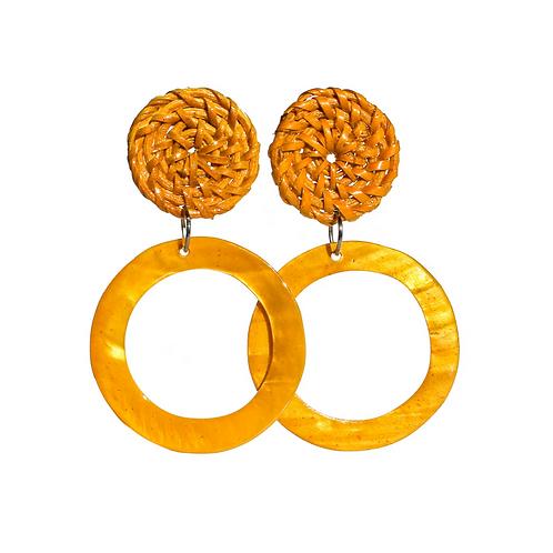 Boracay Hoop Shell Rattan Earrings - Orange