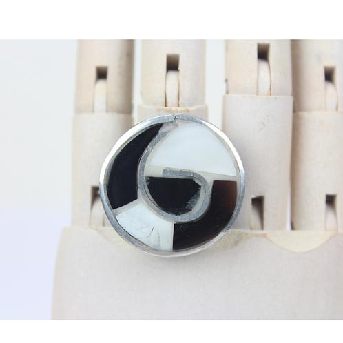 Wirbel runder Ring - Schwarz & Weiß