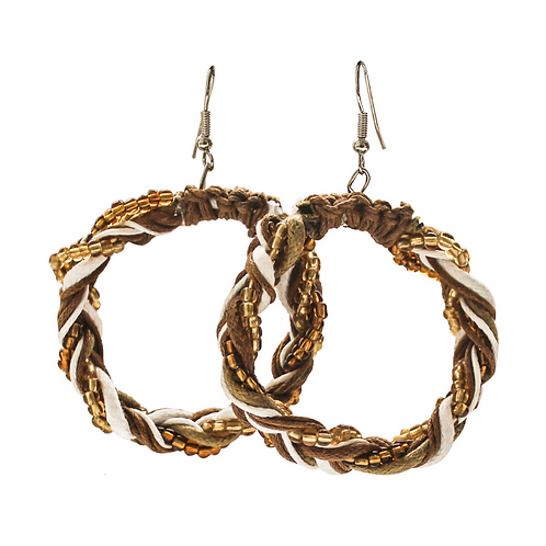 Tunis Braid Earrings - Brown