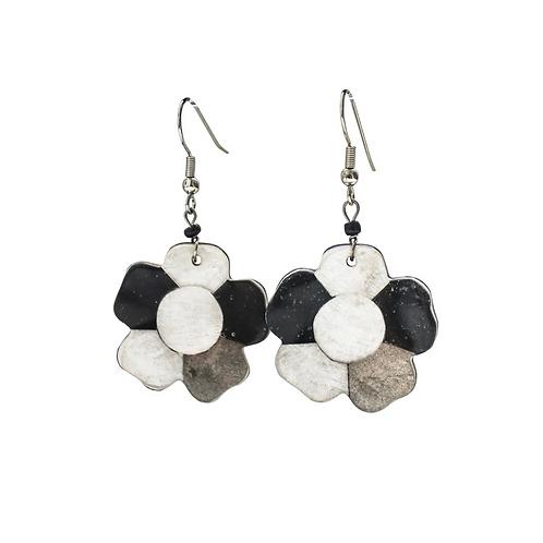 Flower Earrings - Black and White