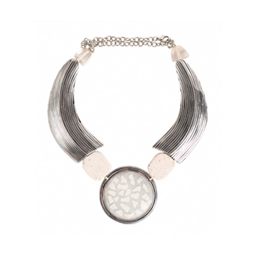 Metal Eggshell Necklace - White