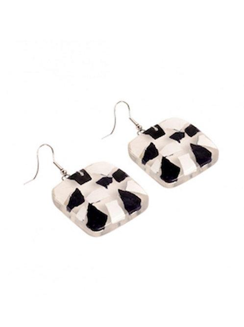 Square Eggshell Earrings - Black&White