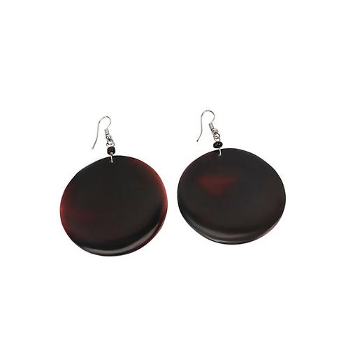 Round Shell Earrings - Black