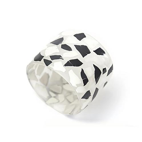 Eggshell Bracelet -  Black and White