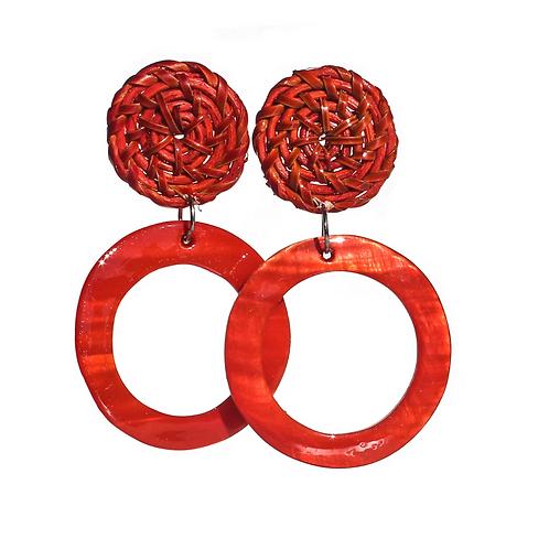 Boracay Hoop Shell Rattan Earrings - Red