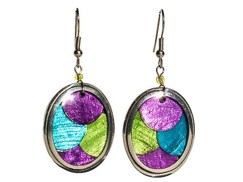 Oval Mermaid Earrings - Violet/Blue/Green