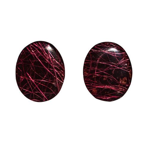 Oval Hay Earrings - Red