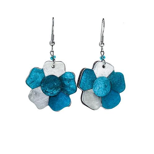 Flower Earrings - Blue
