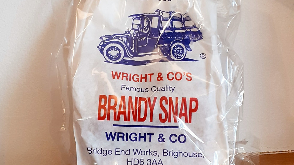 a paper packet of traditional brandy snaps