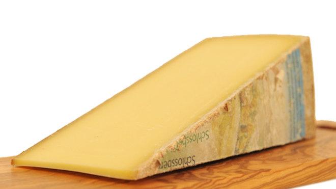 Large Slice Wedge of Swiss Gruyere Schlossberger Cheese Hard Alpine Cow's Milk Cheese Raw Unpasteurised Milk