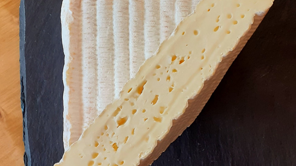 Soft Smelly French Pont l'Eveque Cheese Washed Rind Cheese Cut in Half Bubbles in Cheese