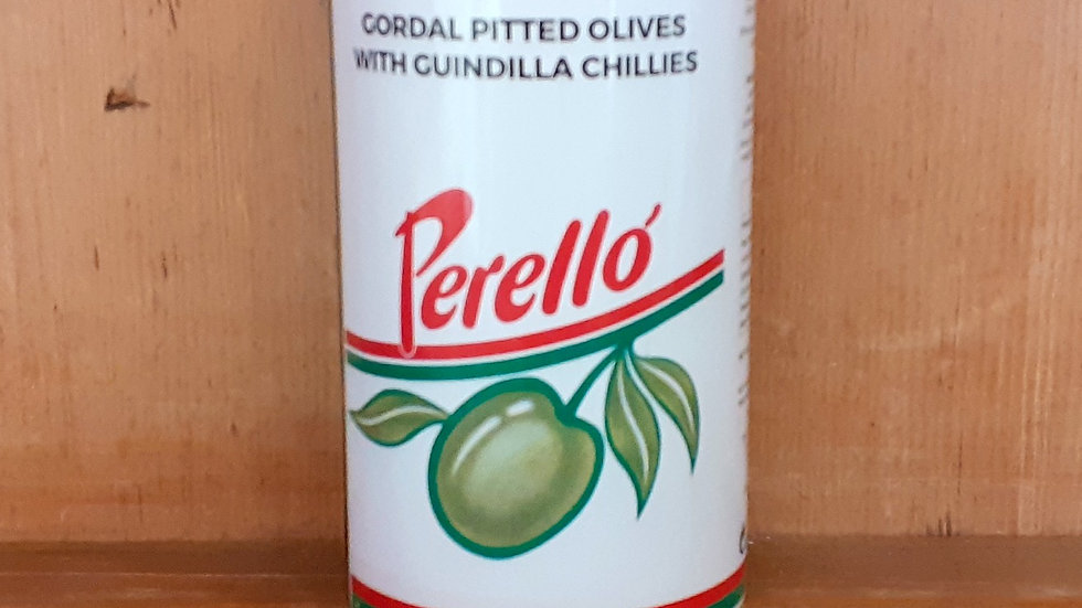 tin can of spanish green olives on a shelf