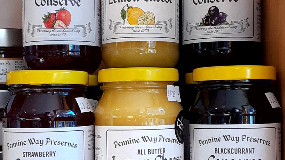 jam preserve lemon cheese lemon curd jars on shelf yellow lids