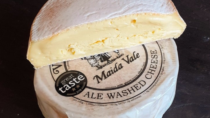 Small Soft British Cheese Washed Rind Maida Vale Text Label Ale Washed Cheese Taste Awards Brown Rind Soft