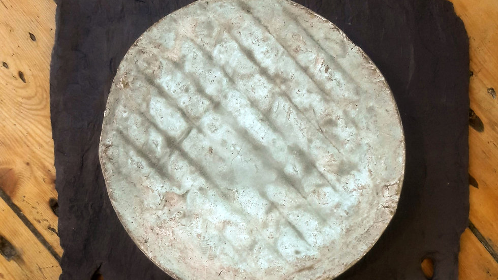 Whole Round French Saint st Nectaire Cheese Grey Mould Rind Lines on Rind Traditional French Cheese
