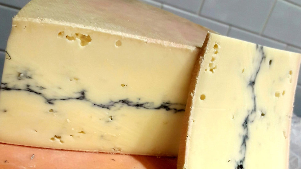 French Morbier Cheese Line of Ash Soft Cheese Cut Raw Milk Cheese Unpasteurised Cheese