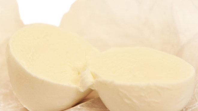Soft White Italian Mozzarella Cheese Cut in Half Mild Creamy Buffalo Mozzarella di Bufala