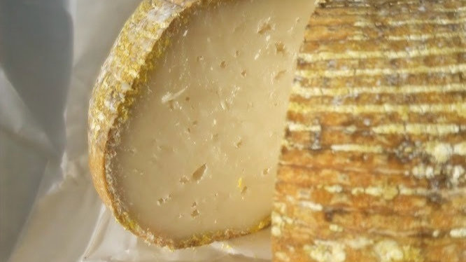 English Farmhouse Goat's Cheese Rustic Flecked Rind Basket Weave Pattern Slice Cut from Cheese