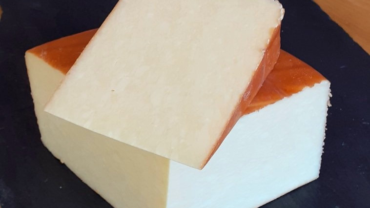 Traditional Smoked Lancashire Cheese Yellow Mild Cheese With Brown Smoky Rind Cut Raw Milk Cheese Unpasteurised Cow's Milk